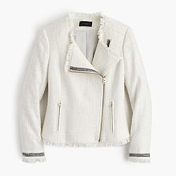 Tweed motorcycle jacket with fringe