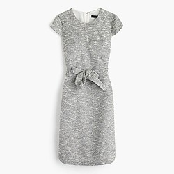 Belted dress in black-and-white tweed