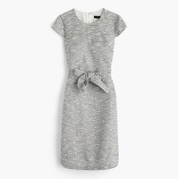 Petite belted dress in black-and-white tweed