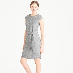Tall belted dress in black-and-white tweed
