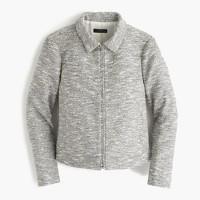 Zip jacket in black-and-white tweed