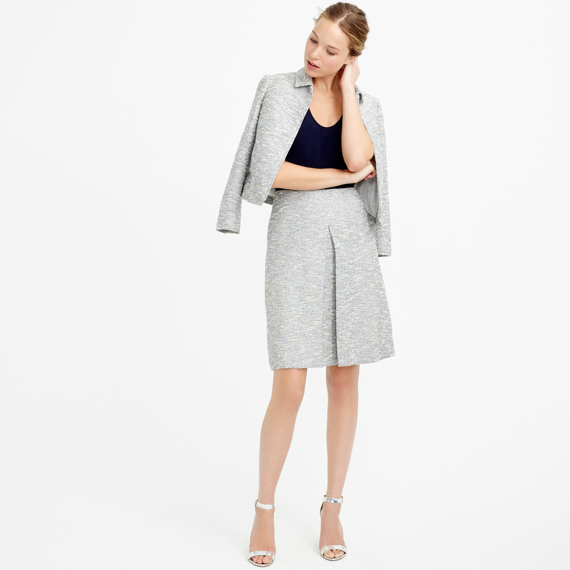 A-line skirt in black-and-white tweed : | J.Crew