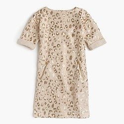 Girls' sweatshirt dress in sparkle leopard