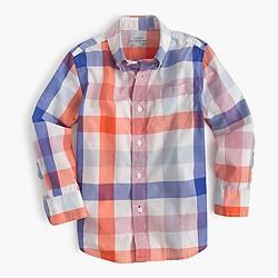 Boy's Secret Wash shirt in large gingham