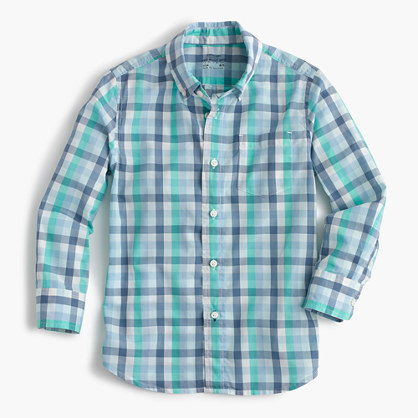 Kids' Secret Wash shirt in multi-blue gingham