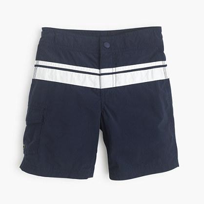 Boys' board short in double stripe