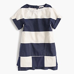 Girls' engineered rugby-striped shift dress