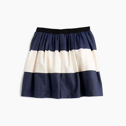 Girls' sateen rugby-striped pull-on skirt