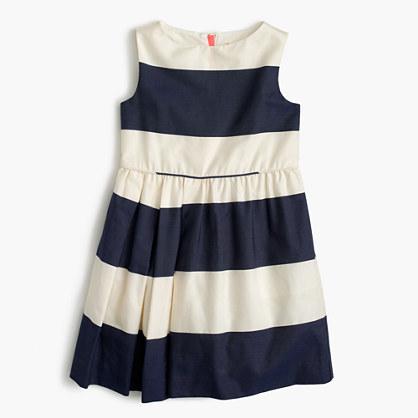 Girls' sateen rugby-striped dress