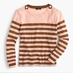 Petite Tippi striped sweater with shoulder buttons