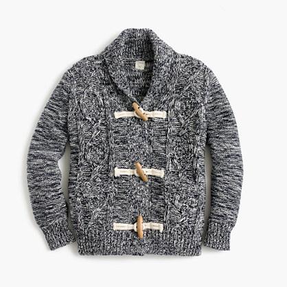 Boys' shawl-collar marled cardigan sweater