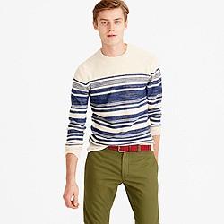 Textured cotton crewneck sweater in blanket stripe