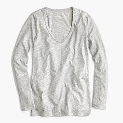 Metallic long-sleeve scoopneck T-shirt