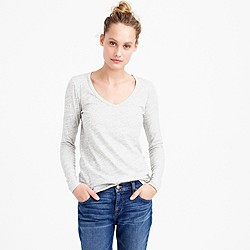 Metallic long-sleeve scoopneck T-shirt