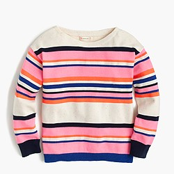 Girls' colorful-striped popover sweater