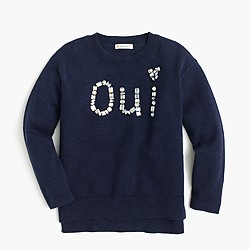 Girls' jeweled oui popover sweater