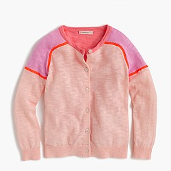 Girls' colorblock cardigan sweater