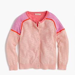 Girls' colorblock cardigan sweater