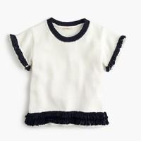 Girls' short-sleeve popover sweater with fringe