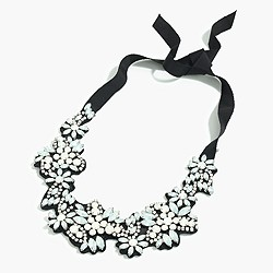 Fabric-backed crystal cluster necklace