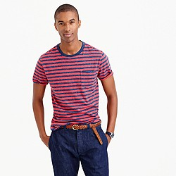 Tall heathered T-shirt in warm red stripe