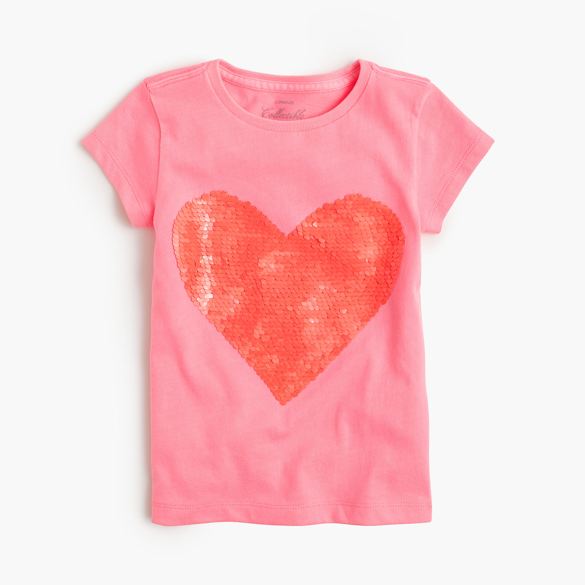 Girls 39 two toned sequin heart t shirt j crew for Girls sequin t shirt