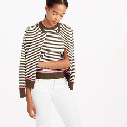 Cotton Jackie cardigan sweater with neon tipping