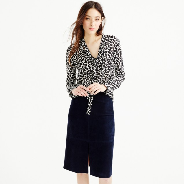 Collection secretary bow blouse in dalmatian print
