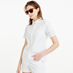 Thomas Mason® for J.Crew embroidered oxford shirt in white