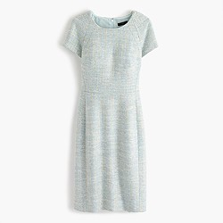 Petite short-sleeve dress in multi-tweed