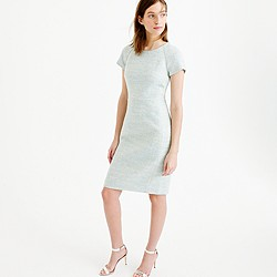 Short-sleeve dress in multi-tweed