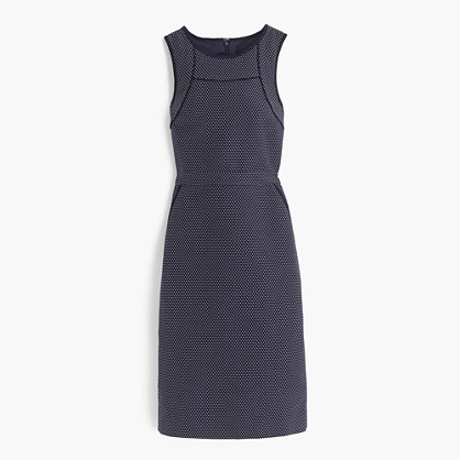 Tipped sheath dress in dotted jacquard