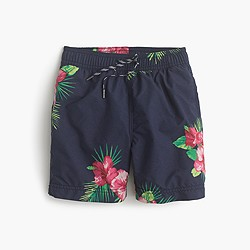 Boys' swim trunk in hibiscus fern
