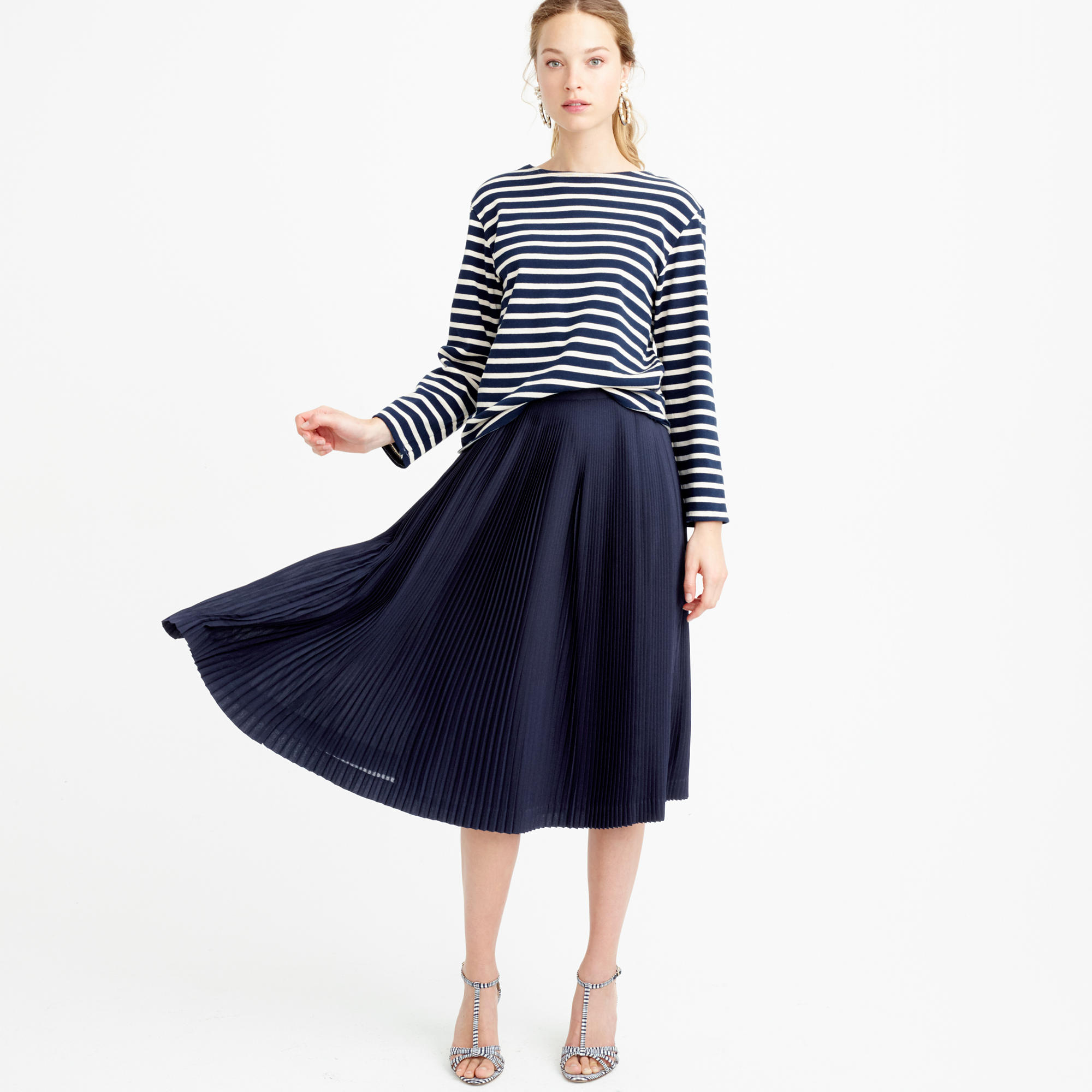Petite micro-pleated midi skirt : Women skirts | J.Crew