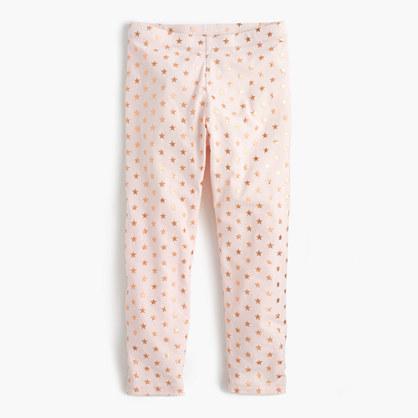 Girls' cropped everyday leggings in foil star