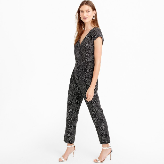 Silk jumpsuit in constellation dot