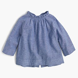Girls' chambray ruffle-neck top