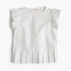 Girls' pleated peplum top