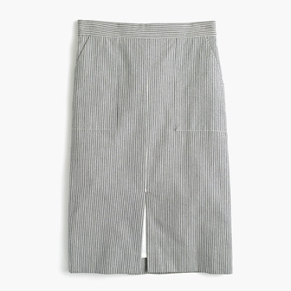 A-line skirt with pockets in skinny stripe