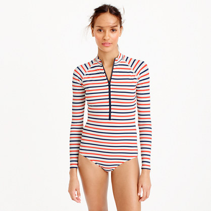 Long-sleeve one-piece swimsuit in multistripe