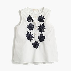 Girls' embellished flower shirt