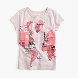 Girls' metallic map T-shirt
