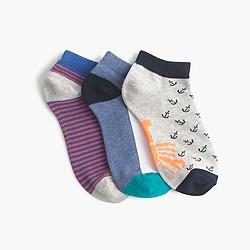 Boys' anchor striped socks three-pack