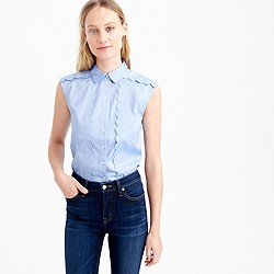 Sleeveless scalloped shirt in french blue