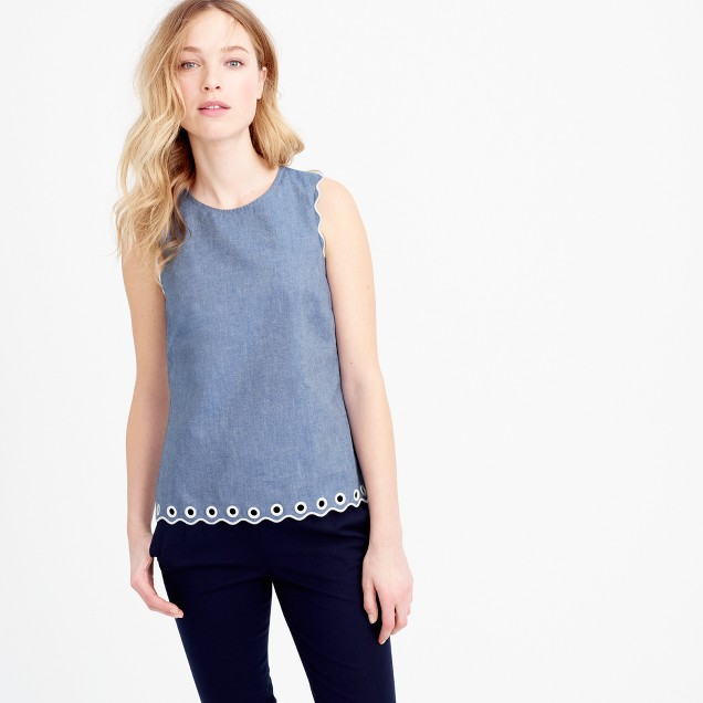 Petite chambray scalloped top with grommets