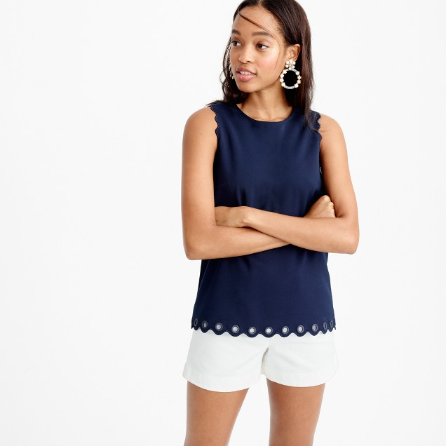 Tall scalloped top with grommets