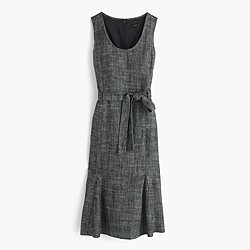 Petite belted dress in textured herringbone