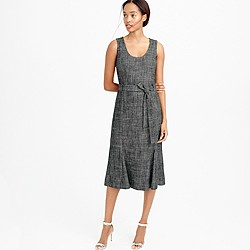 Belted dress in textured herringbone