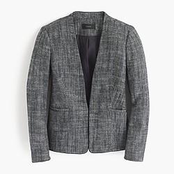 Tipped collarless jacket in textured herringbone
