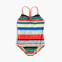 Girls' racerback one-piece swimsuit in colorful stripe